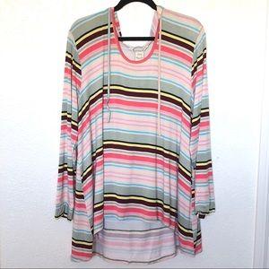 American Rag striped longsleeve hoodie top sz. 2X